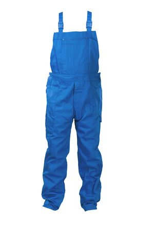 protective clothing: Blue dungarees -protective clothing. Isolated on white.