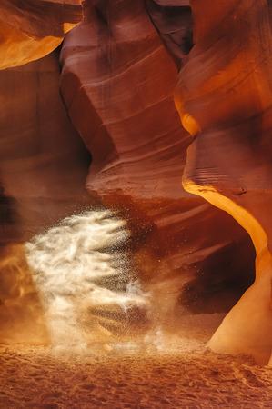 Antelope Canyon - dust. Stock Photo