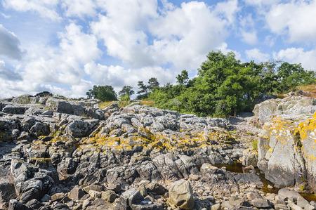 rocky coastline: Rocky coastline - horizontal, Bornholm. Stock Photo
