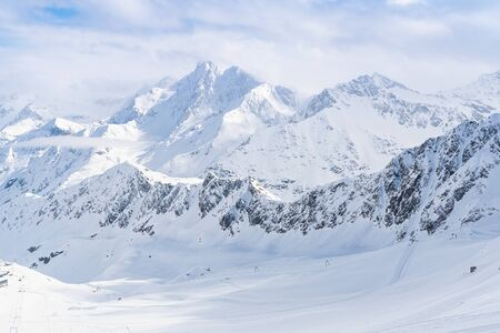 Panorama of ski runs on the Kaunertal glacier in Austria. Stock fotó