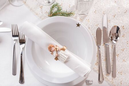 Christmas table setting. View from above.
