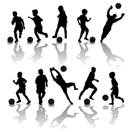 buiten sporten: Voetbal, voetbal spelers silhouetten op witte achtergrond Stock Illustratie