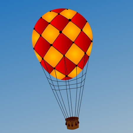 Image shows a hot air balloon over a clear blue sky background Vector