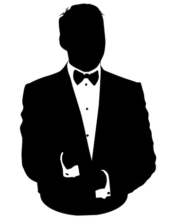 black tie: Graphic illustration of man in business suit as user icon, avatar