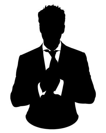silueta hombre: Ilustración gráfica del hombre en traje de negocios como icono de usuario, avatar Vectores
