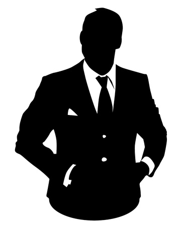 face silhouette: Graphic illustration of man in business suit as user icon, avatar