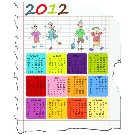 2012 calendar on math paper with kids drawings. Vector