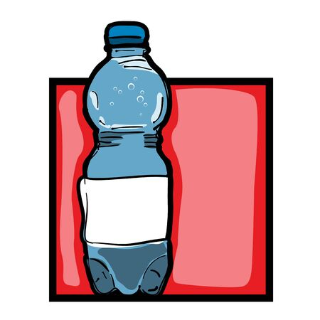 vintage bottle: Classic clip art graphic icon with mineral water bottle