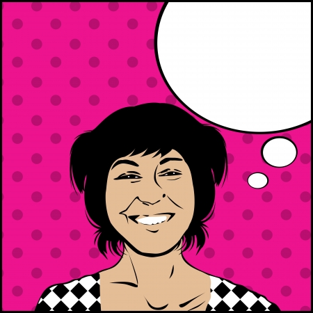 Image shows a comic style graphic of a very happy girl and a speech bubble for your text