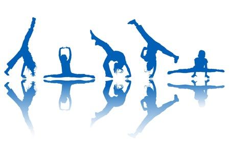 ni�os bailando: Bailando kids siluetas y reflexi�n sobre fondo blanco