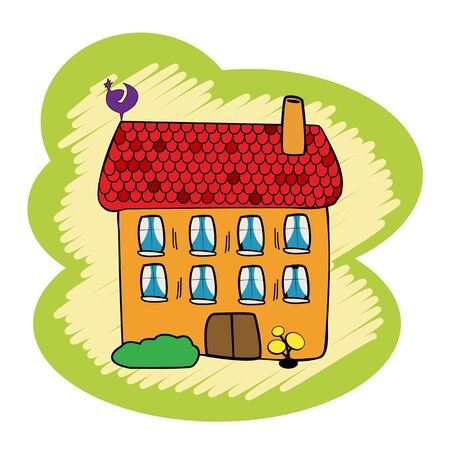 Cartoon, doodle house on white background Stock Vector - 10734310