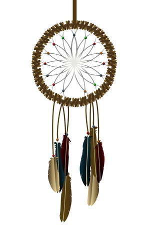 Native american dream-catcher over white