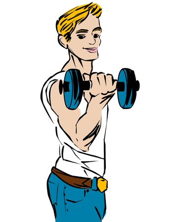 triceps: Cartoon sketch of a bodybuilder, fitness boy. Isolated objects over white background