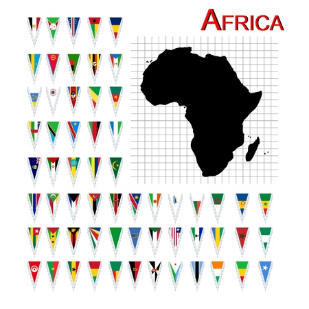 Complete set of African flags and map, isolated and grouped objects over white background Vector