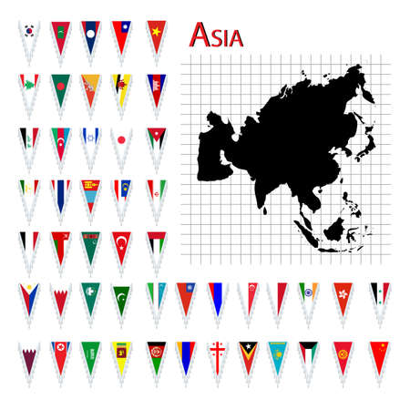 Complete set of Asia flags and map, isolated and grouped objects over white background