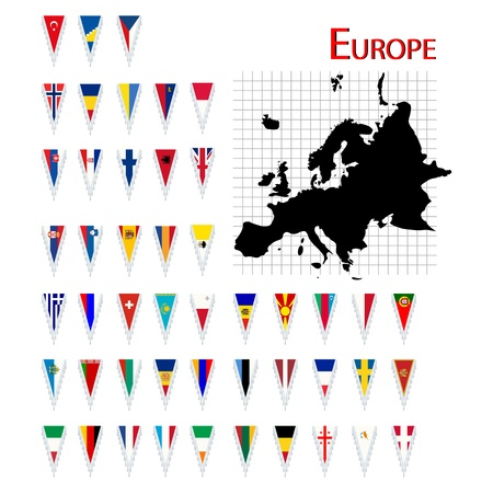 Complete set of Europe flags and map, isolated and grouped objects over white background Stock Vector - 10732669