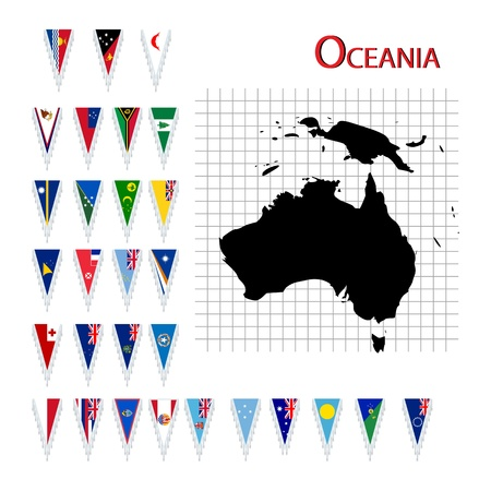 oceania: Complete set of Oceania flags and map, isolated and grouped objects over white background