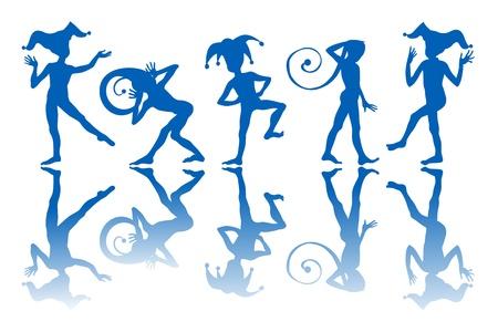 Bailando siluetas de Arlequines y reflexión sobre fondo blanco. Ilustración de vector