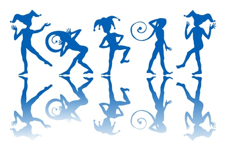 jester: Dancing harlequins silhouettes and reflection over white background. Illustration