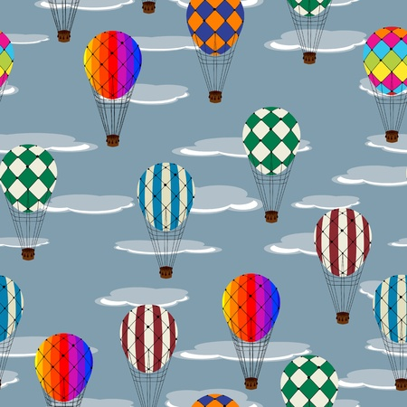 Seamless pattern with hot air balloons and clouds Vector
