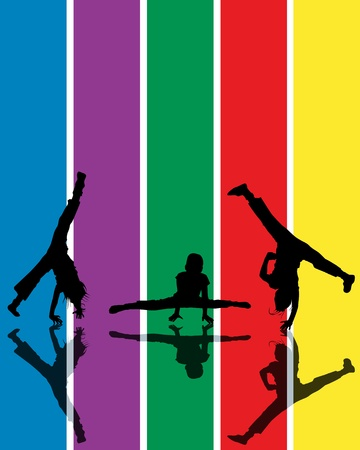 Abstract composition with jumping children silhouettes over a rainbow background Vector