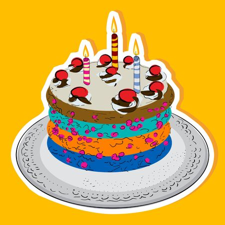 Birthday cake with candles and cherries Vector