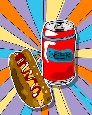Pop art graphic background with hot dog and beer can, junk food conceptual graphic Illustration