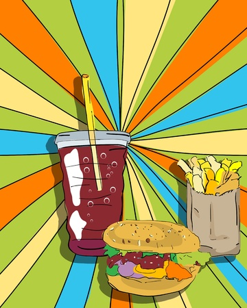 cheeseburger: Pop art graphic background with cheeseburger, fries and soda, conceptual  food graphic