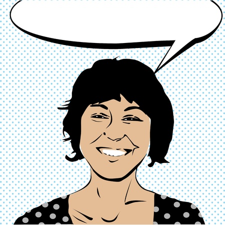 gal: Pop art drawing of a girl laughing and a speech bubble Illustration