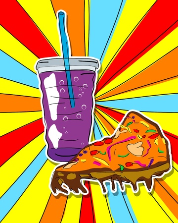 Pop art graphic background with pizza slice and soda, junk food conceptual graphic Illustration