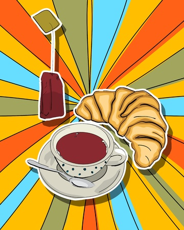 60's: Pop art graphic background with tea cup and croissant