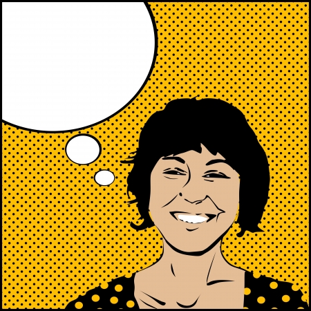 Comic style drawing on a pop woman with speech bubble Vector