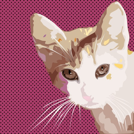 comic style drawing of a cat over a pop art retro background