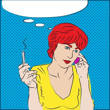 sigaretta: Un ritratto in stile pop art di una ragazza dai capelli rossi parla al telefono e il fumo