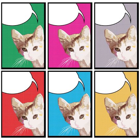 Pop art drawing of a cat with speech bubble in colors Illustration