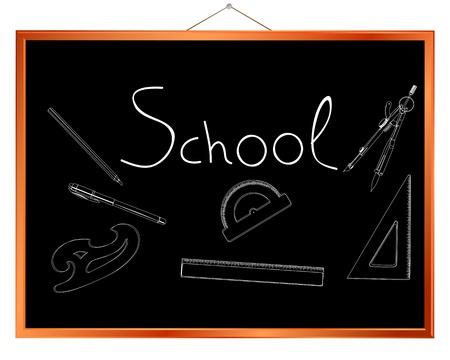 Chalk drawing of school supplies on a chalkborad Stock Vector - 10734298