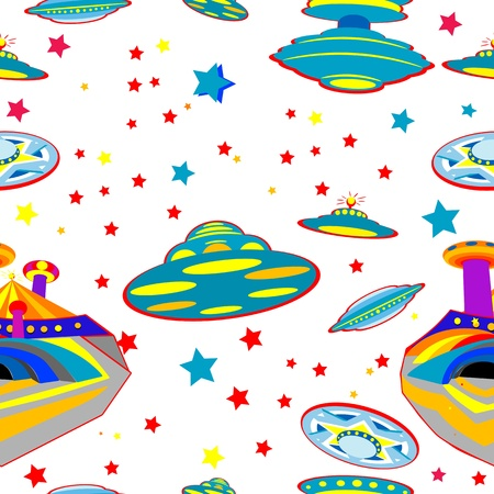 space station: seamless pattern with flying saucers over white background