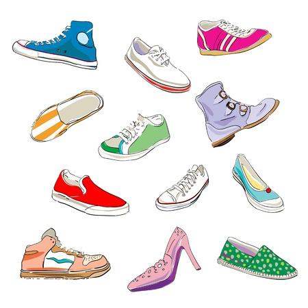 chaussure: chaussures stylis�es et des baskets sur un fond blanc Illustration