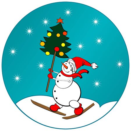 Sticker with cartoon snow man and a Christmas tree Vector