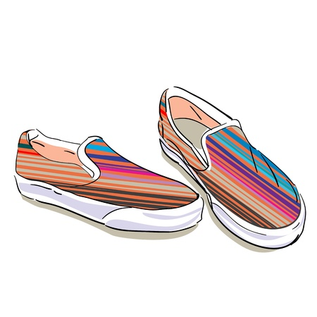 foot gear: striped summer fabric shoes on a white background Illustration