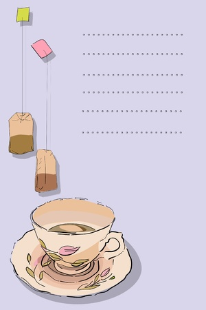 Tea card graphic with tea cup and bag and place for text, abstract art