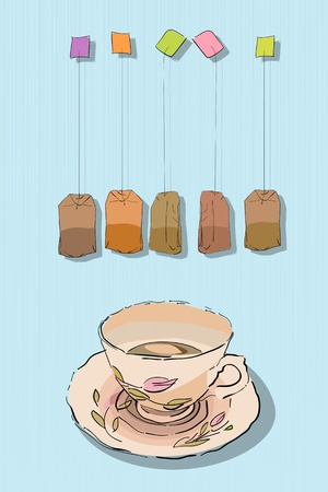 Conceptual graphic sketch with tea cup and bag. Afternoon tea.