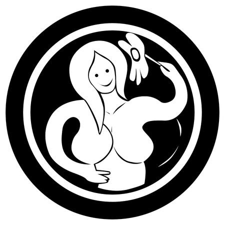 Gestileerde sterrenbeeld, Maagd tattoo, geïsoleerd object op een witte achtergrond Vector Illustratie