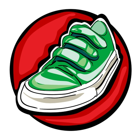 green sneakers with loops isolated on a white background Vector