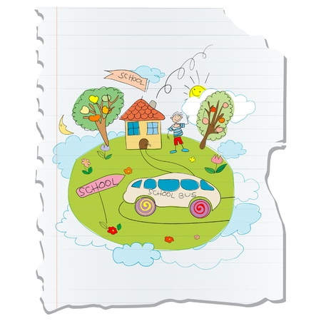 Image shows a childlike drawing of a little boy going to school on a piece of paper. No mesh. Vector
