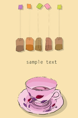 Tea party invitation card with room for text. No mesh or gradient used, easy to edit graphic.