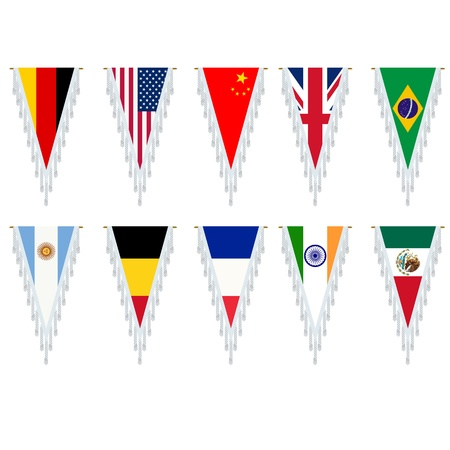 Stylized country flags, pennants over white background.