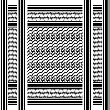 black and white scarf background with arab seamless pattern, shemagh Vector
