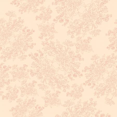 naadloze retro patroon met rococo bloemen, shabby chic motief