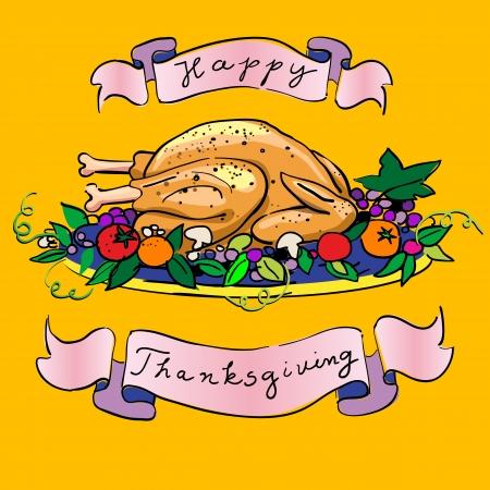 turkey thanksgiving: cocido de pavo de Acci�n de Gracias en un plato con verduras y cintas felices vacaciones Vectores